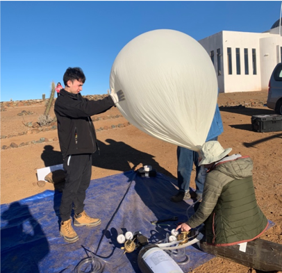 MSGC radiosonde balloon launch with Chilean and US student involvement.
