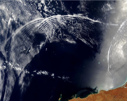 Atmospheric gravity waves as seen from space. Image credit: Jacques Descloitres, MODIS Rapid Response Team, NASA/GSFC.